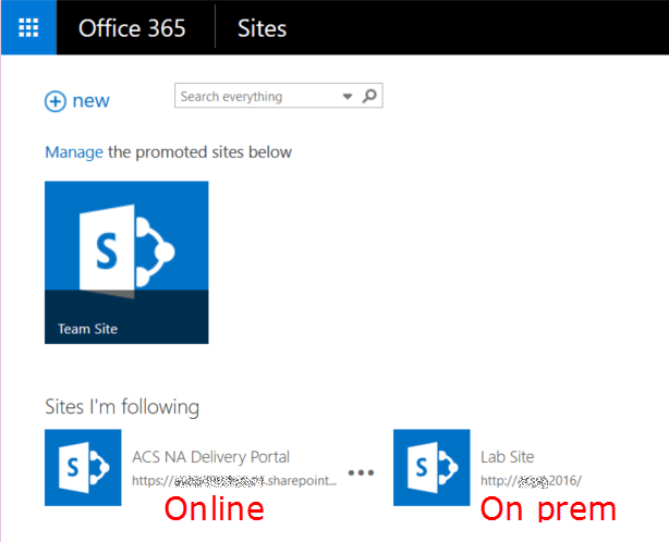 Sites followed both in Office 365 and SharePoint 2016 are available in the user's Office 365 profile.